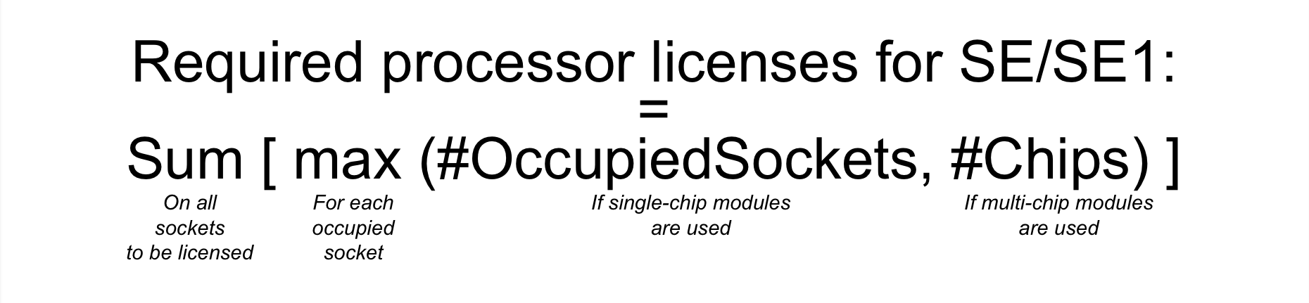 Formula For Calculating Processor Licenses For SE And SE1