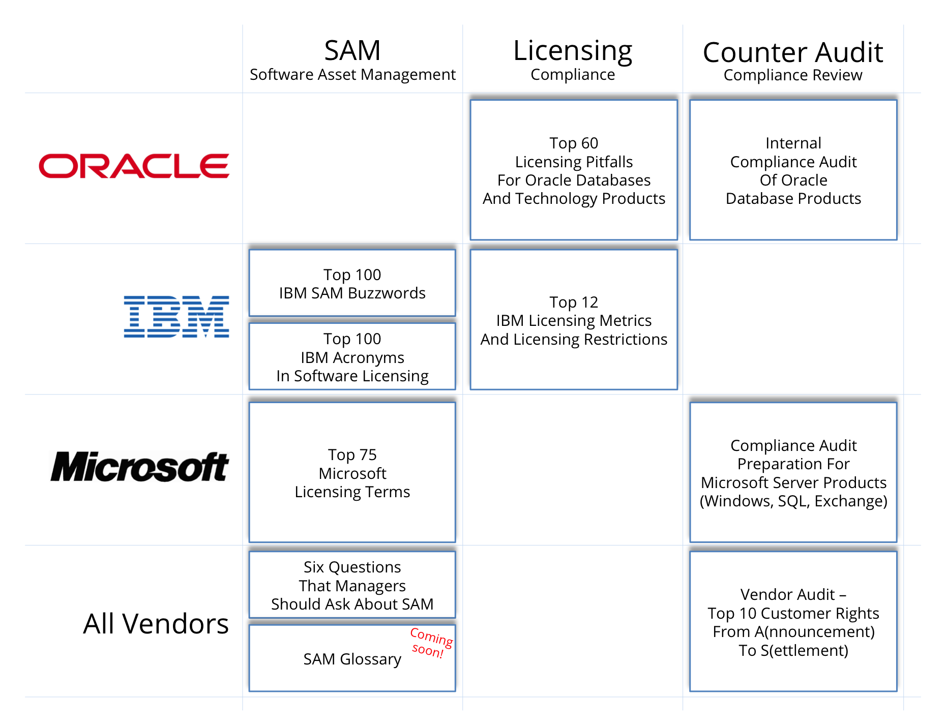 OMTCO - References for Software Asset Management SAM Licensing Counter Audit for Oracle IBM Microsoft And All Vendors